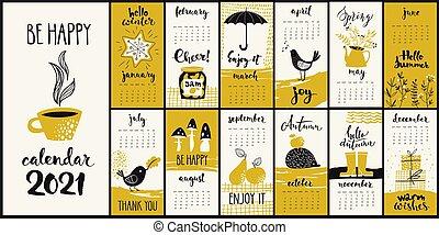 calendario, simboli, 2021, mensile, cartone animato, moderno, stile, mano, vettore, disegnato, sporco d'inchiostro