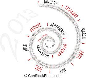 calendario, spirale, 2013