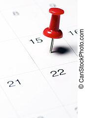 calendario, tachuela, pulgar, rojo, página