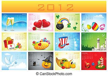 calendario, vacanza, 2012