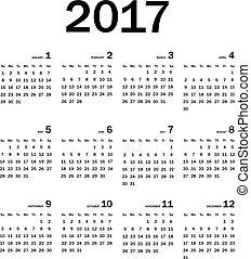 calendario, vector, 2017