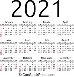 calendario, vector, 2021, domingo