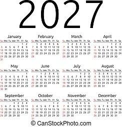 calendario, vector, 2027, domingo