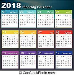 calendario, vector, diseño, 2018