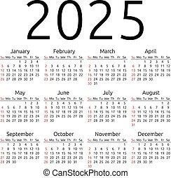 calendario, vector, domingo, 2025