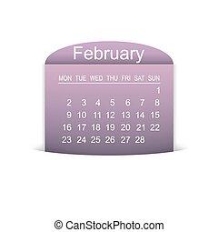 calendario, vector, febrero, ilustración, 2015.