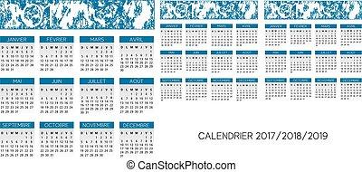calendario, vector, francés