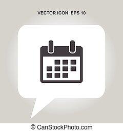 calendario, vector, icono