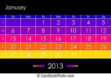 calendario, vector, -january, 2013