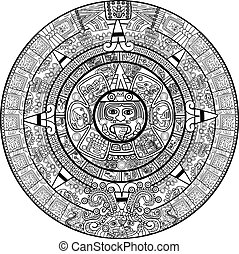 calendario, vector, maya
