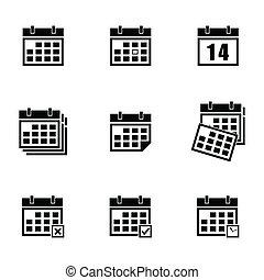 calendario, vector, negro, conjunto, iconos
