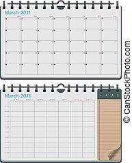 calendario, vector, plantilla