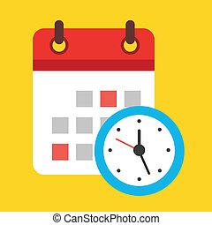 calendario, vector, reloj, icono