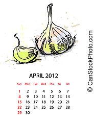 calendario, vegetales, 2012