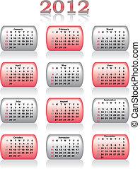 calendario, vettore, 2012