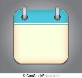 calendario, vettore, app, icona