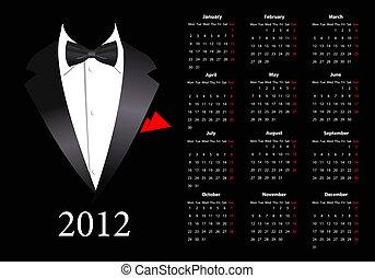calendario, vettore, europeo, 2012