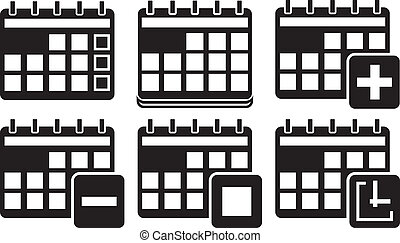 calendario, vettore, set, icone