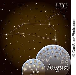 calendario, zodíaco, leo., señal