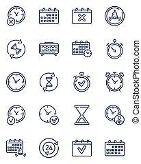 calendarios, clocks, contorno, conjunto, icono, simple, ...