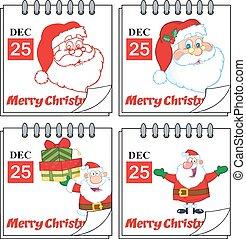calendars., セット, クリスマス, コレクション