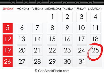 illustration of calender with date mark as reminder