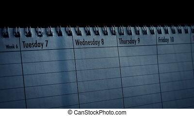 calendrier, à, pluie, ombres, sur, il