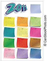 calendrier, 2011, coloré, poteau-il