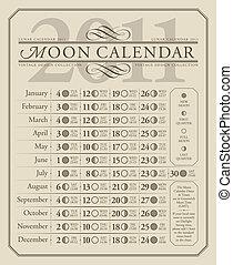 calendrier, 2011, lunaire, (vector), gmt