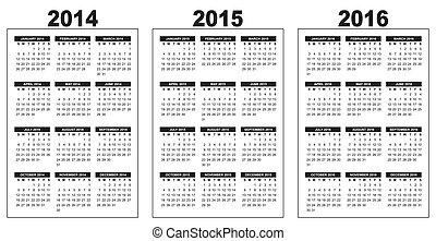 calendrier, 2014-2015-2016