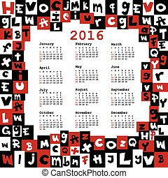 calendrier, 2016, lettres