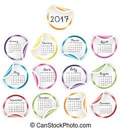 calendrier, 2017, autocollants, rond, lustré