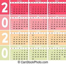 calendrier, 2020