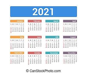 calendrier, 2021