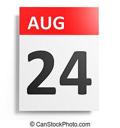 calendrier, 24, arrière-plan., august., blanc
