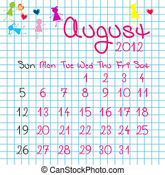 calendrier, août, 2012