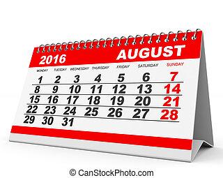 calendrier, août, 2016.