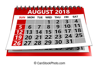 calendrier, août, 2018