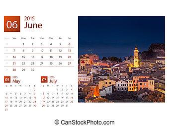 calendrier bureau, 2015., grèce, image, selection.