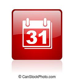 calendrier, carré rouge, lustré, toile, icône, blanc, fond