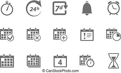 calendrier, chronométrez icônes