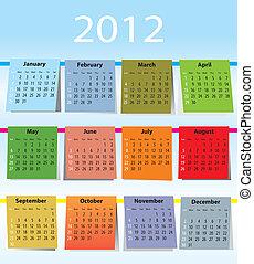 calendrier, coloré, 2012