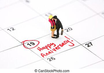 calendrier, concept, anniversaire, heureux