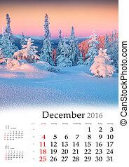 calendrier, december., 2016.