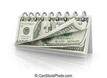 calendrier, dollar, bills.