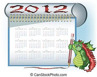 calendrier, dragon, 2012
