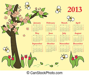 calendrier, enfants, 2013