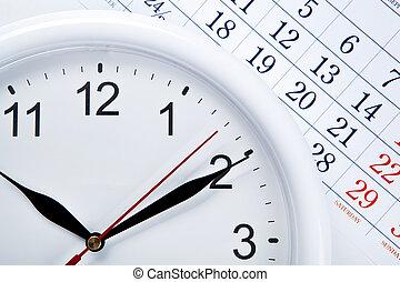 calendrier, figure, feuille, nombres, horloge