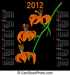 calendrier, fleurs, 2012
