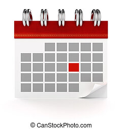calendrier, fond blanc, 3d